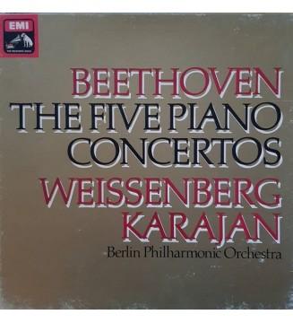 Beethoven*, Weissenberg*, Karajan*, Berlin Philharmonic Orchestra* - The Five Piano Concertos (4xLP, Quad + Box) mesvinyles.fr