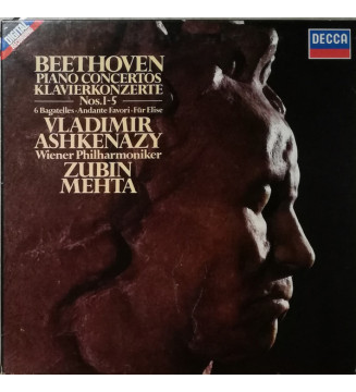 Beethoven*, Vladimir Ashkenazy, Vienna Philharmonic Orchestra*, Zubin Mehta - Piano Concertos Nos. 1 - 5 (4xLP, Album) mesvinyle