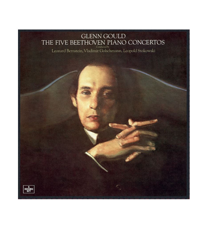 Glenn Gould, Leonard Bernstein, Vladimir Golschmann, Leopold Stokowski - The Five Beethoven Piano Concertos (5xLP, Comp, RE) vin
