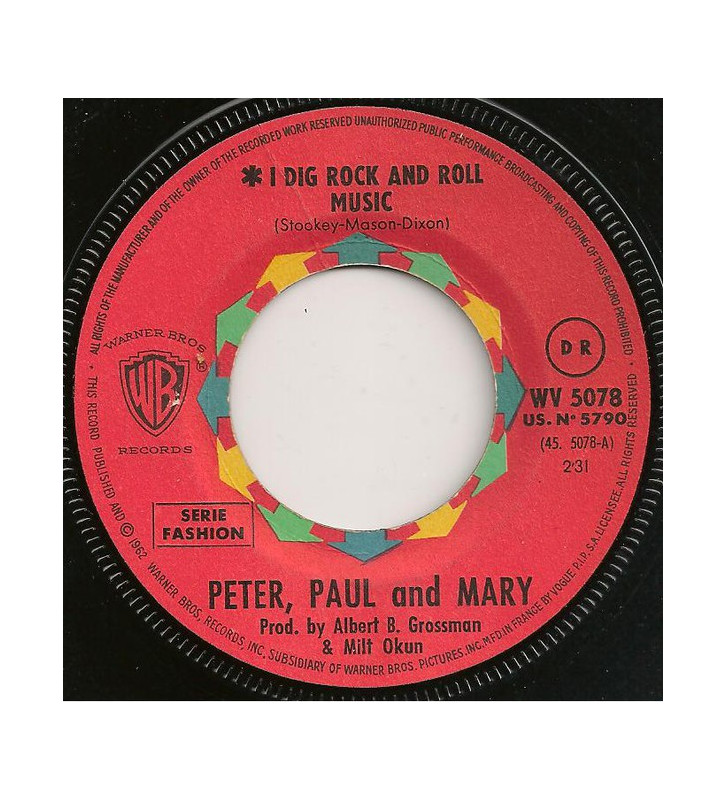 """Peter, Paul & Mary - I Dig Rock And Roll Music / Rolling Home (7"""", Single) mesvinyles.fr"""