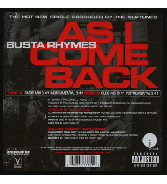 "Busta Rhymes - As I Come Back (12"", Single) mesvinyles.fr"