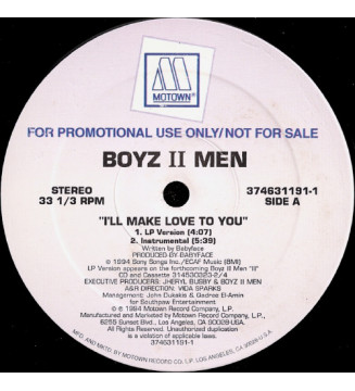 "Boyz II Men - I'll Make Love To You (12"", Single, Promo) mesvinyles.fr"