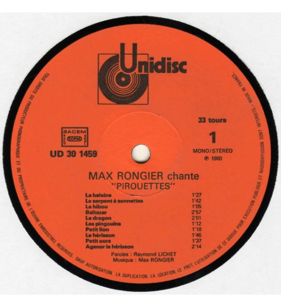 "Max Rongier - Chante ""Pirouettes"" ""Galipettes"" Comptines De Raymond Lichet (LP, Album) mesvinyles.fr"