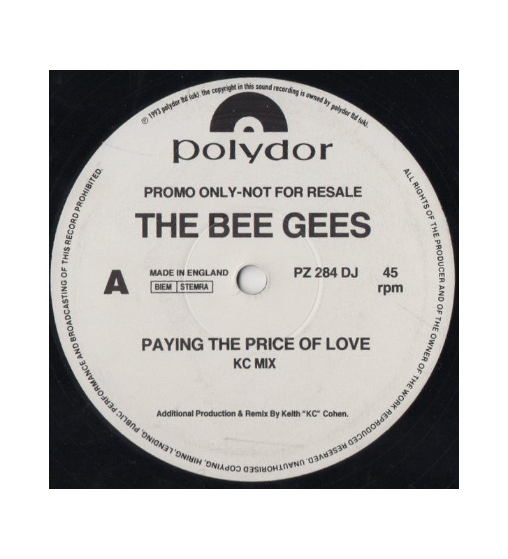 "The Bee Gees* - Paying The Price Of Love (12"", Single, Promo) mesvinyles.fr"