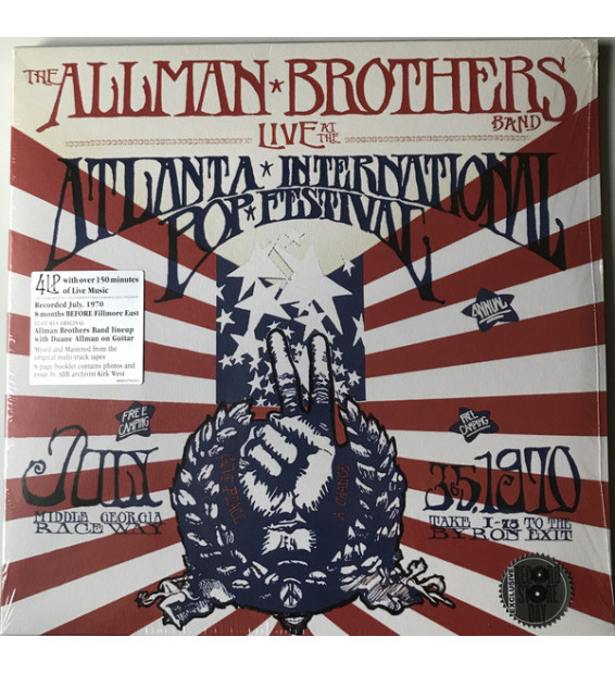 The Allman Brothers Band - Live At The Atlanta International Pop Festival July 3 & 5, 1970 (4xLP, Album, Num)