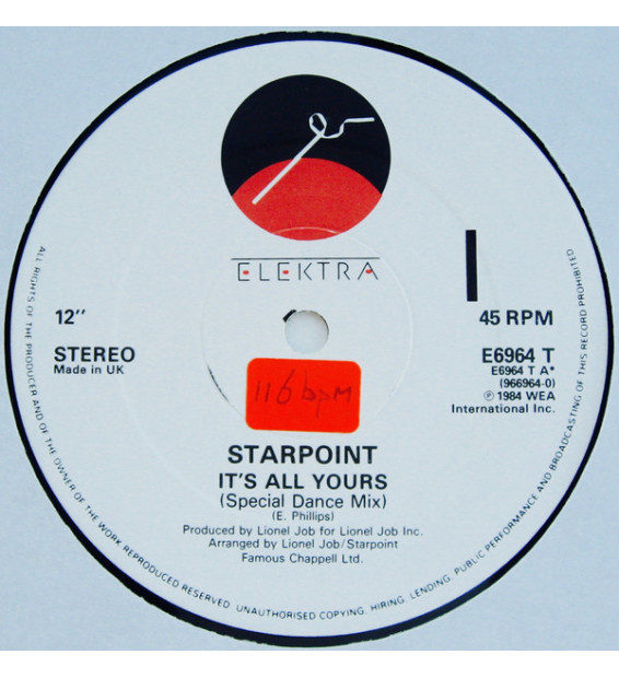 """Starpoint - It's All Yours (12"""", Single) mesvinyles.fr"""