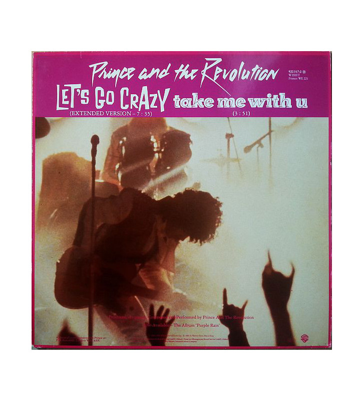"Prince And The Revolution - Let's Go Crazy / Take Me With U / Erotic City (12"", Single, Red) mesvinyles.fr"