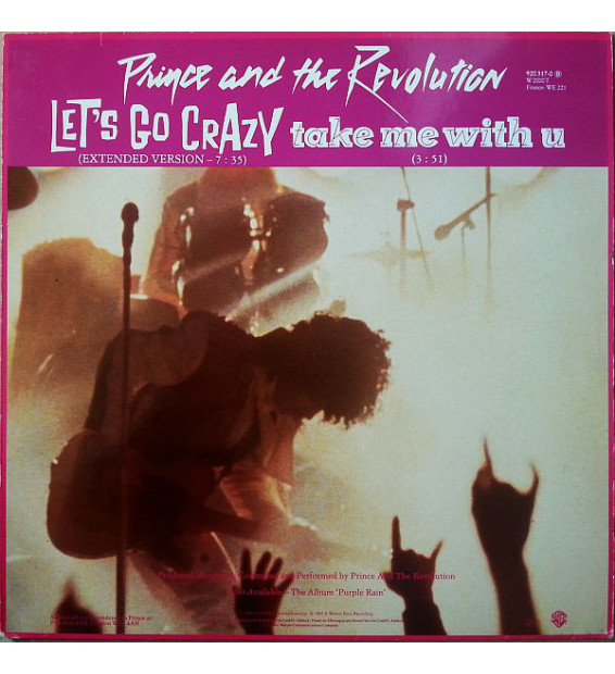 """Prince And The Revolution - Let's Go Crazy / Take Me With U / Erotic City (12"""", Single, Red)"""