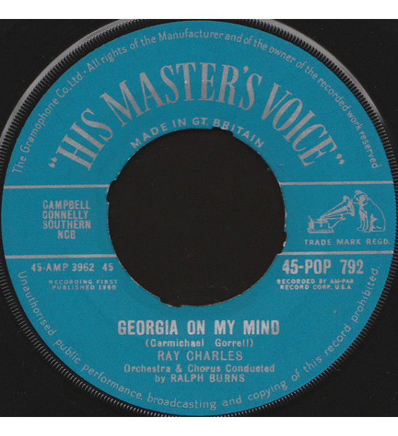 """Ray Charles - Georgia On My Mind / Carry Me Back To Old Virginny (7"""", Single) mesvinyles.fr"""
