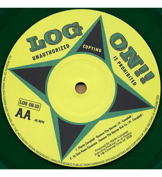 """Martin Campbell & Hi Tech Roots Dynamics - Tell The World / Remove The Barrier (10"""", Ltd, Gre) mesvinyles.fr"""