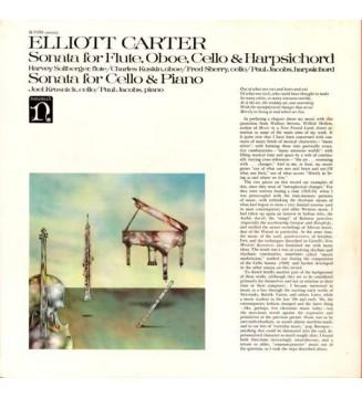 Elliott Carter - Sonata For Flute, Oboe, Cello & Harpsichord / Sonata For Cello & Piano (LP) mesvinyles.fr