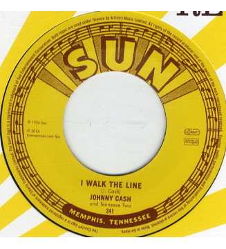 "Johnny Cash And Tennessee Two* - I Walk The Line / Get Rhythm (7"", Single, RE, RM) mesvinyles.fr"